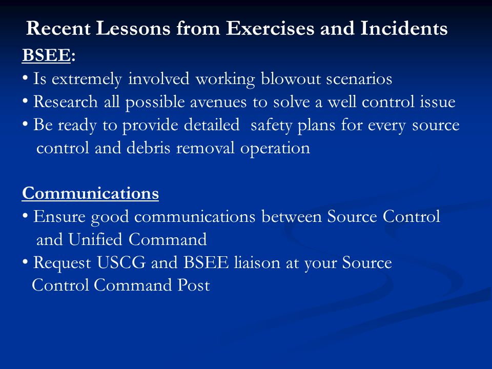 Recent Lessons from Exercises and Incidents