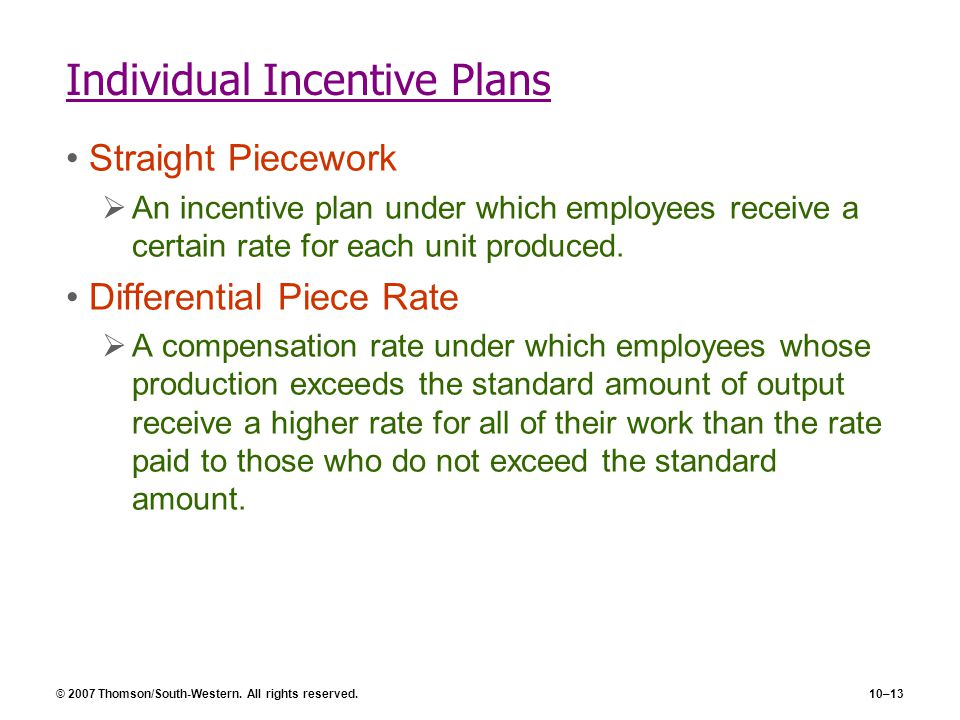 Individual Incentive Plans