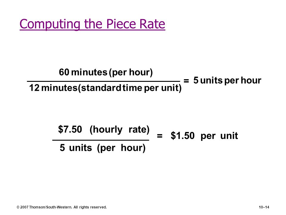 Computing the Piece Rate