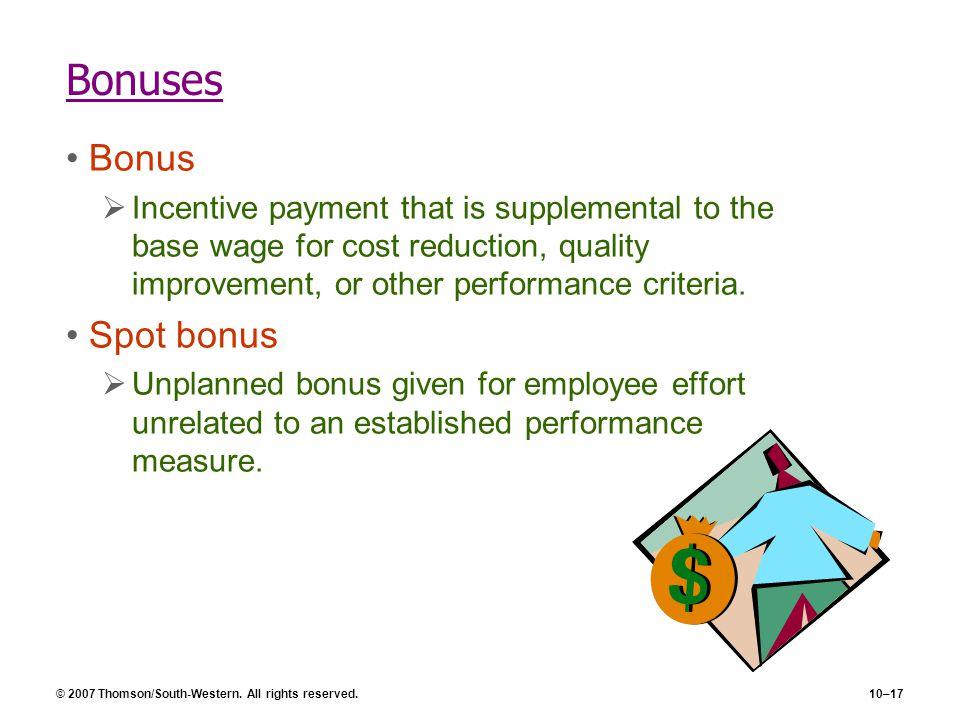 Bonuses Bonus Spot bonus