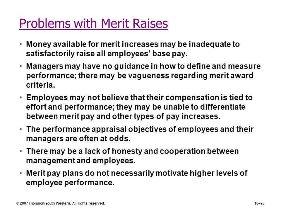 Problems with Merit Raises