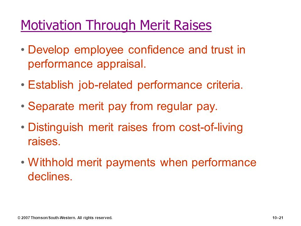 Motivation Through Merit Raises