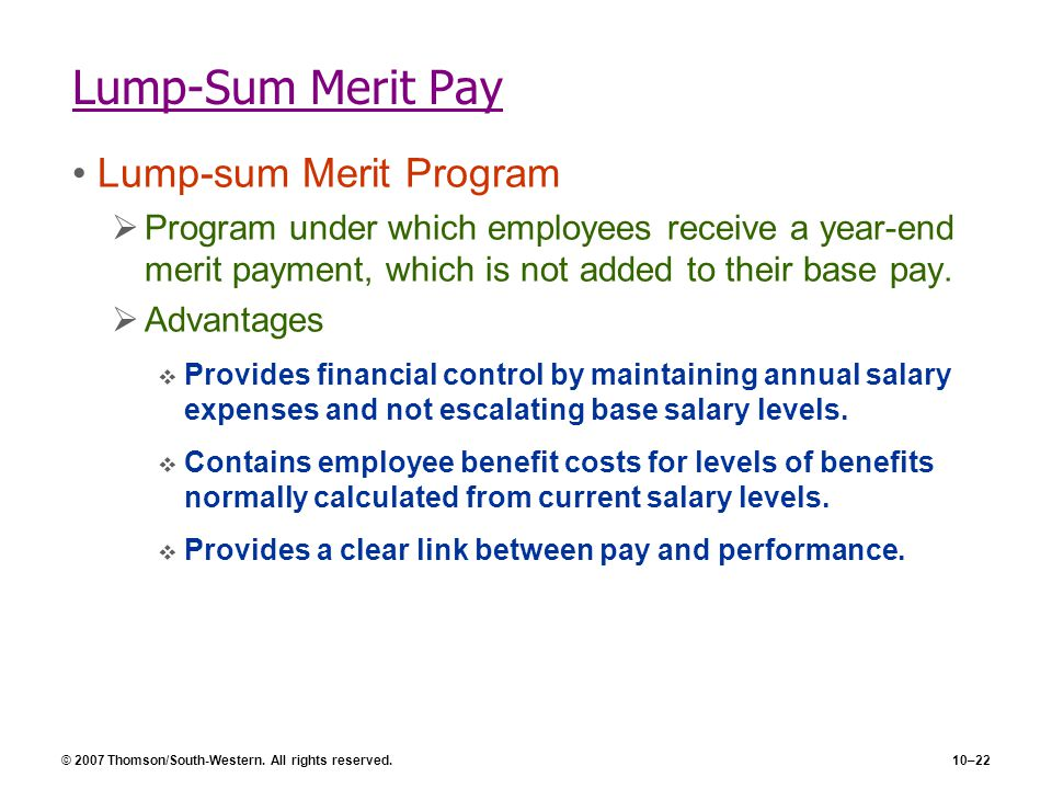 Lump-Sum Merit Pay Lump-sum Merit Program