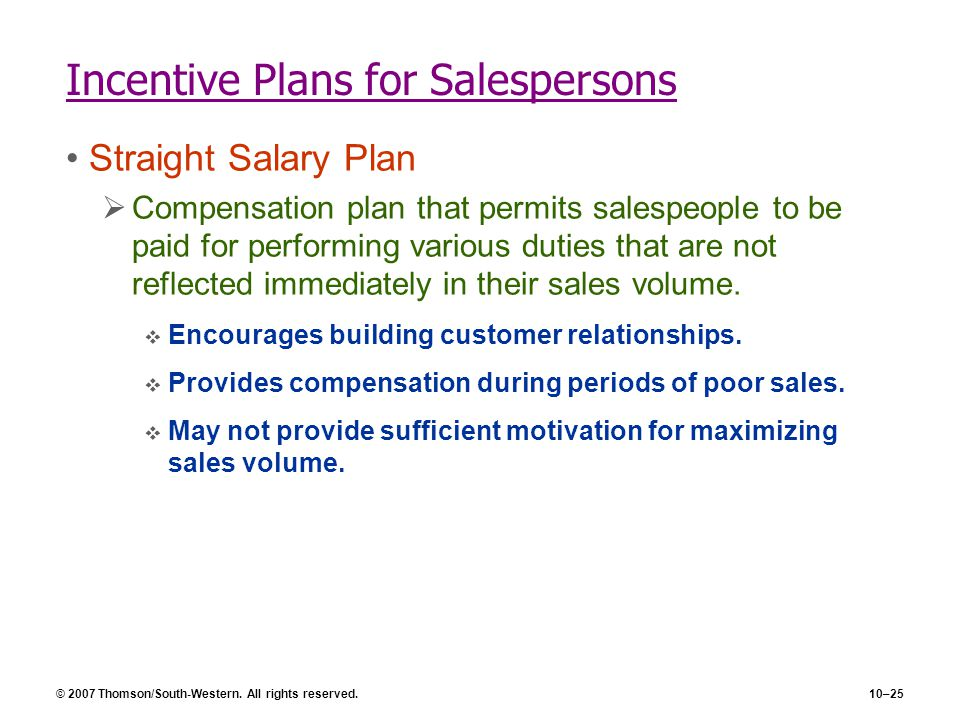 Incentive Plans for Salespersons