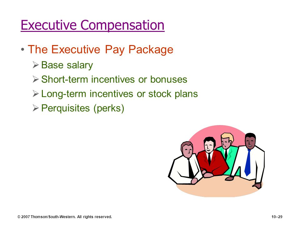Stock options are offered to executives as short-term incentive