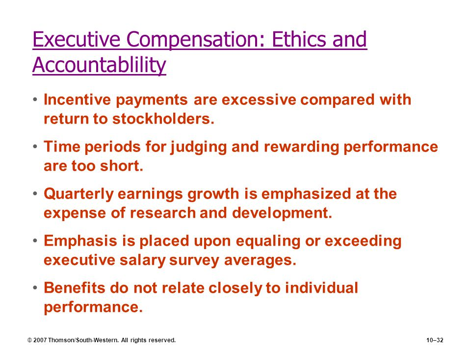 Executive Compensation: Ethics and Accountablility
