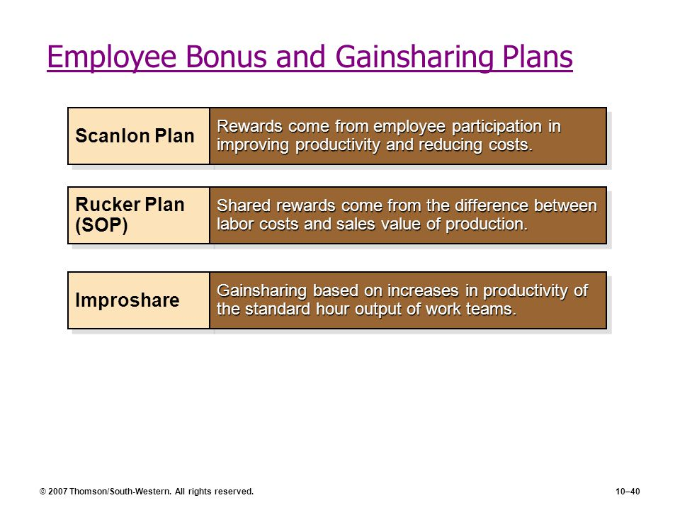 Employee Bonus and Gainsharing Plans