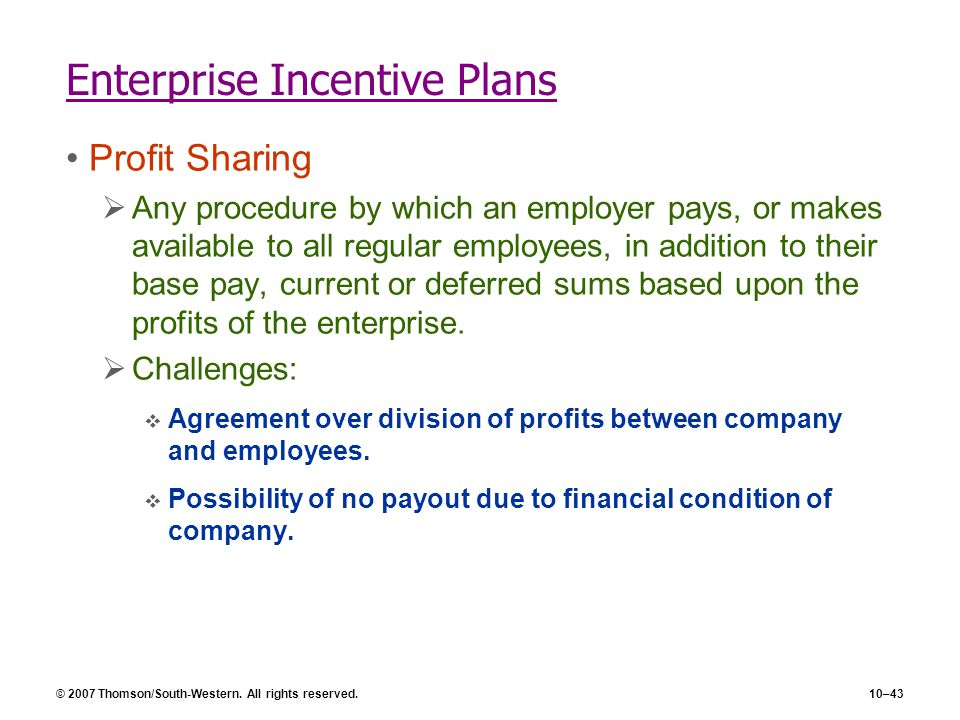 Enterprise Incentive Plans