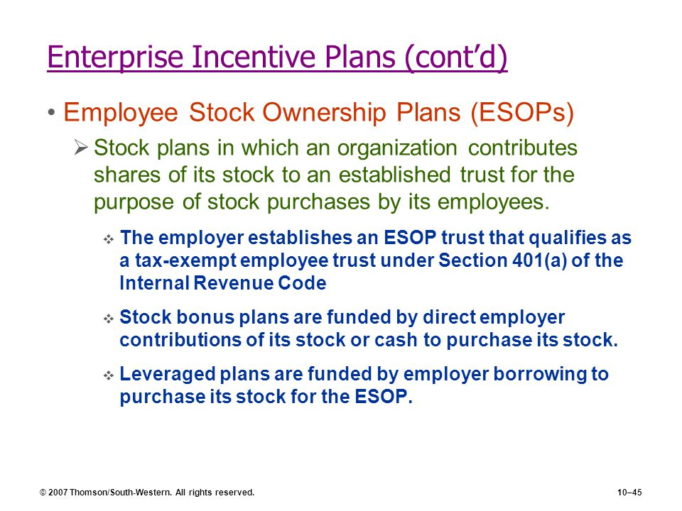 Enterprise Incentive Plans (cont'd)