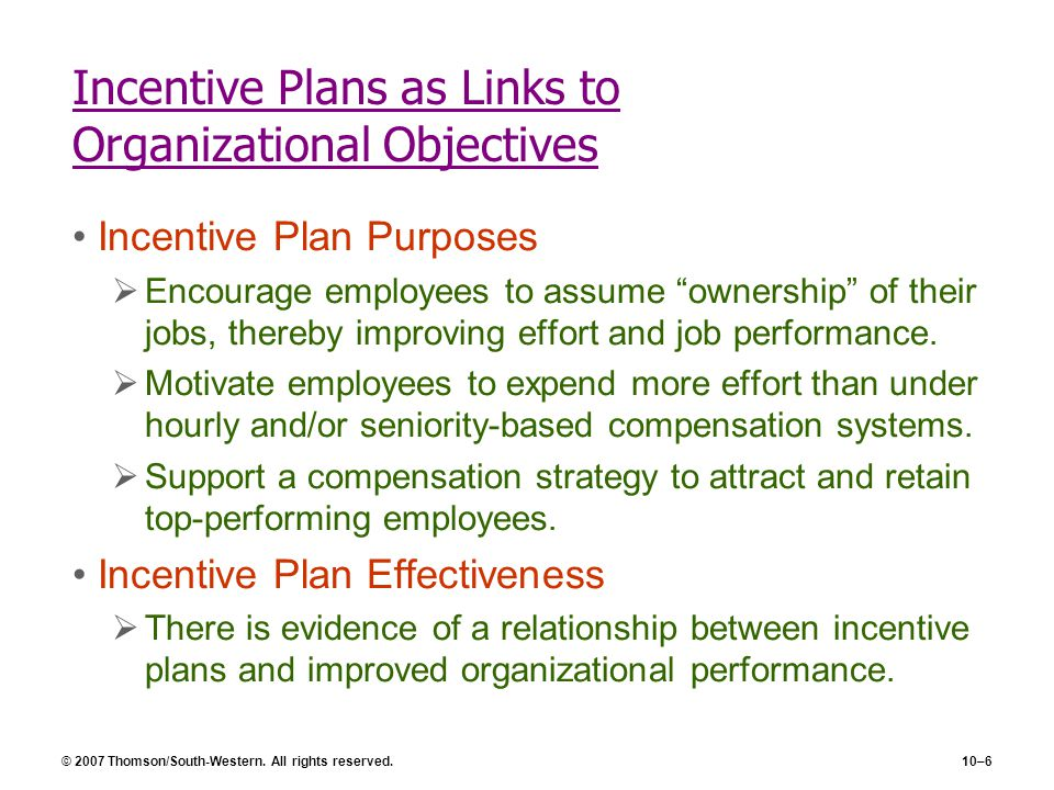 Incentive Plans as Links to Organizational Objectives