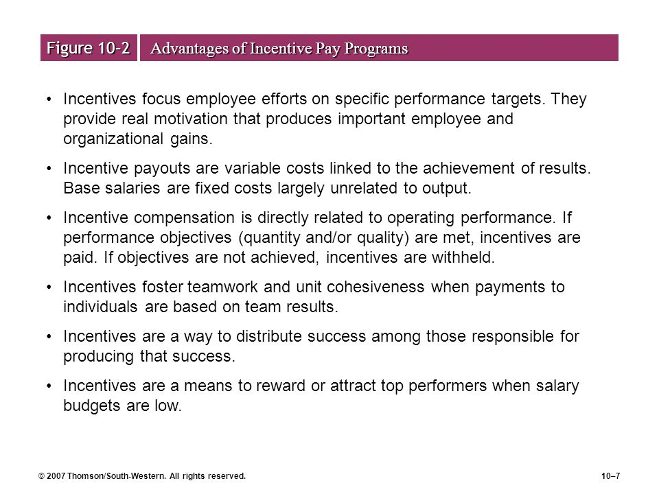 Figure 10–2 Advantages of Incentive Pay Programs