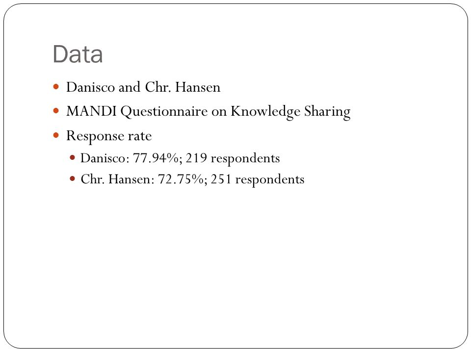 Data Danisco and Chr. Hansen MANDI Questionnaire on Knowledge Sharing