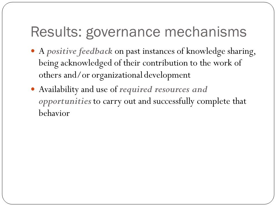 Results: governance mechanisms