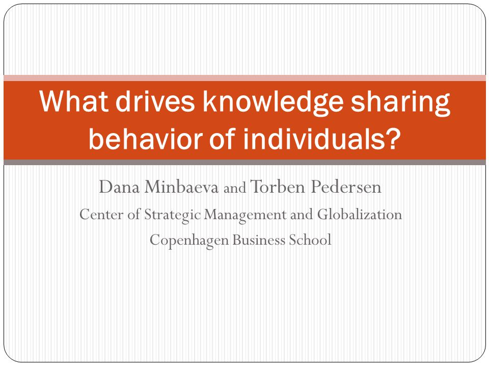 What drives knowledge sharing behavior of individuals