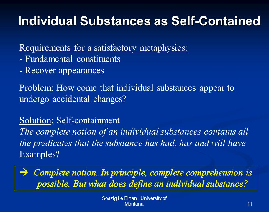 Individual Substances as Self-Contained