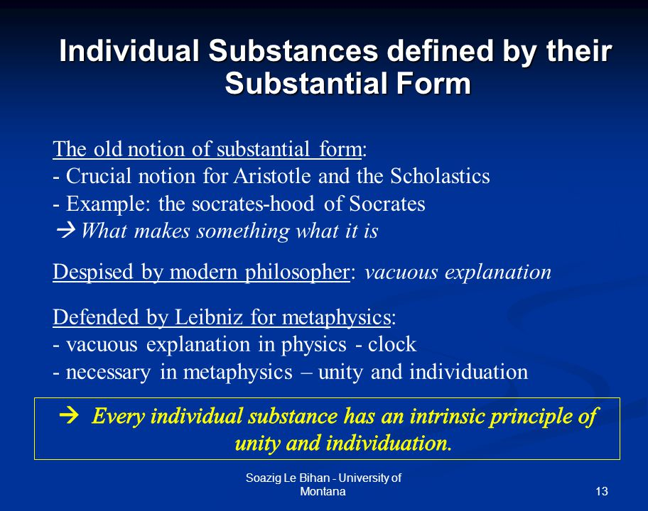 Individual Substances defined by their Substantial Form