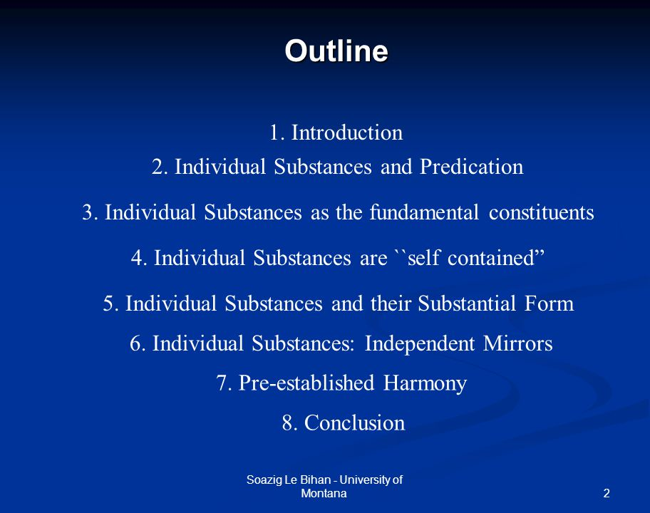 Outline 1. Introduction 2. Individual Substances and Predication