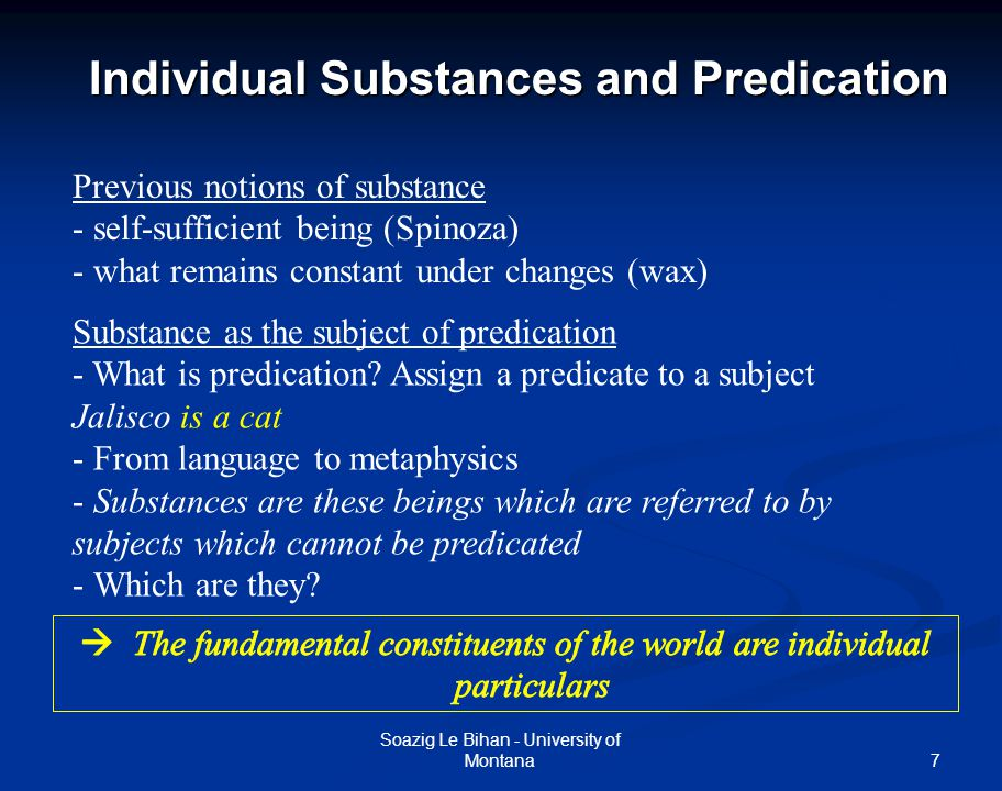 Individual Substances and Predication