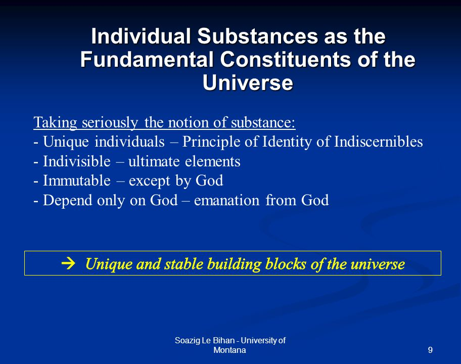 Individual Substances as the Fundamental Constituents of the Universe