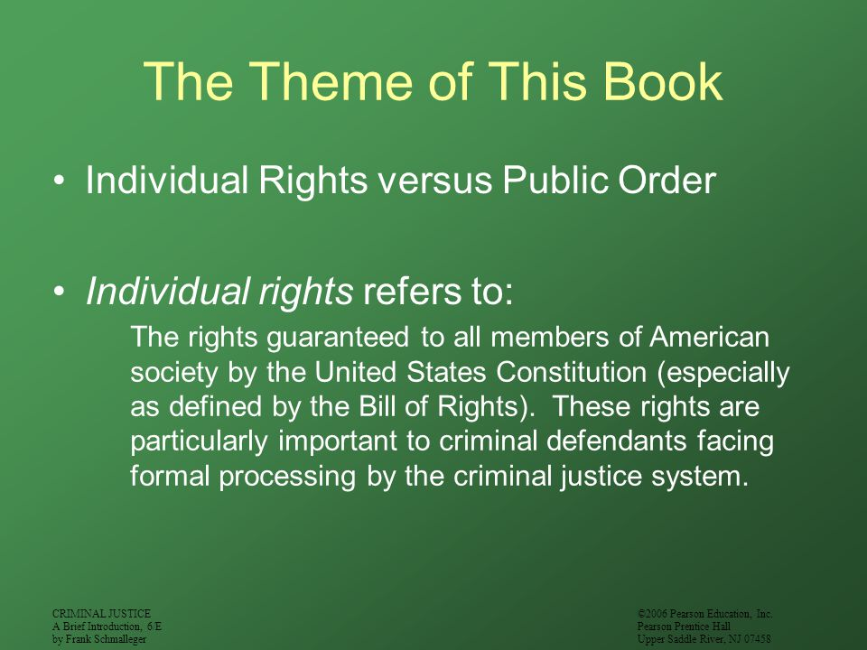 The Theme of This Book Individual Rights versus Public Order