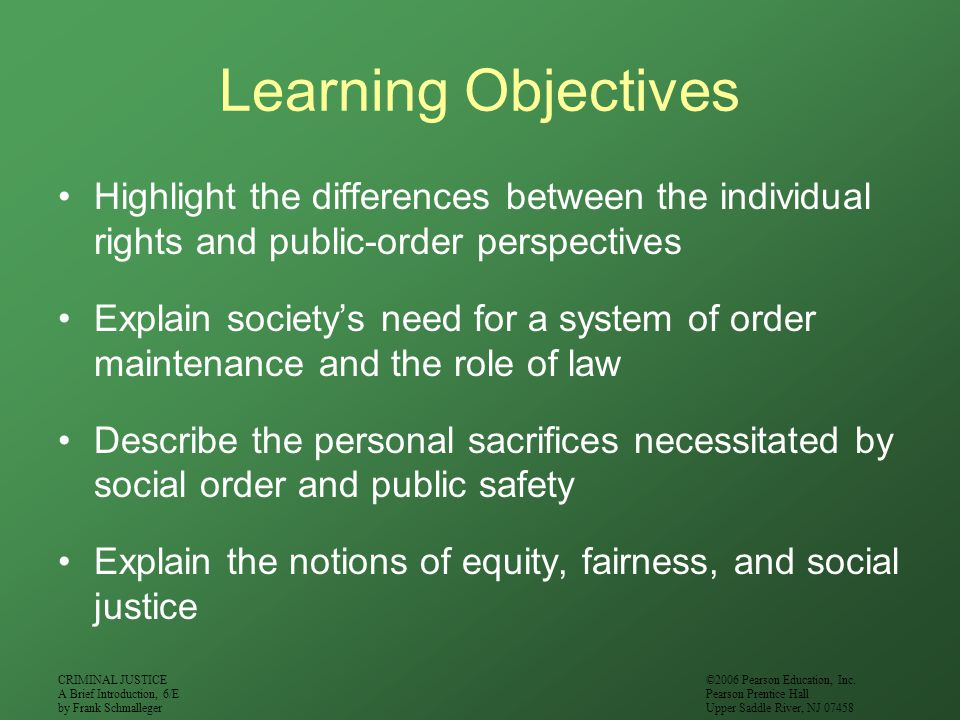Learning Objectives Highlight the differences between the individual rights and public-order perspectives.