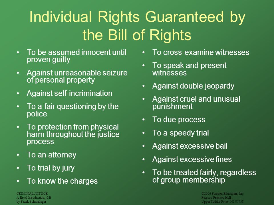 Individual Rights Guaranteed by the Bill of Rights