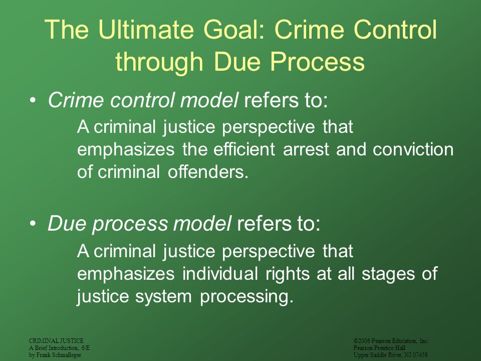The Ultimate Goal: Crime Control through Due Process