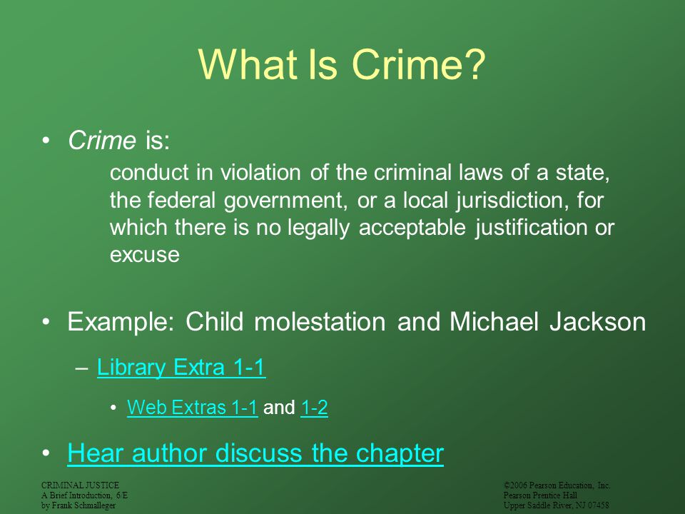 What Is Crime Crime is: Example: Child molestation and Michael Jackson. Library Extra 1-1. Web Extras 1-1 and 1-2.