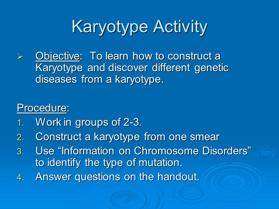Karyotype Activity Objective: To learn how to construct a Karyotype and discover different genetic diseases from a karyotype.