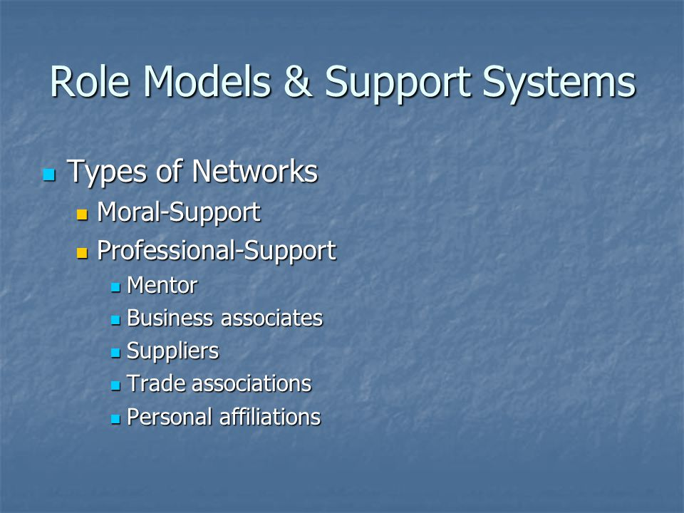 Role Models & Support Systems