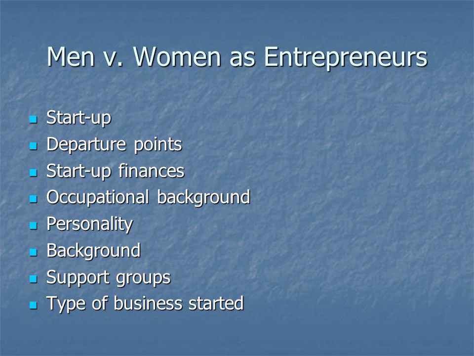 Men v. Women as Entrepreneurs