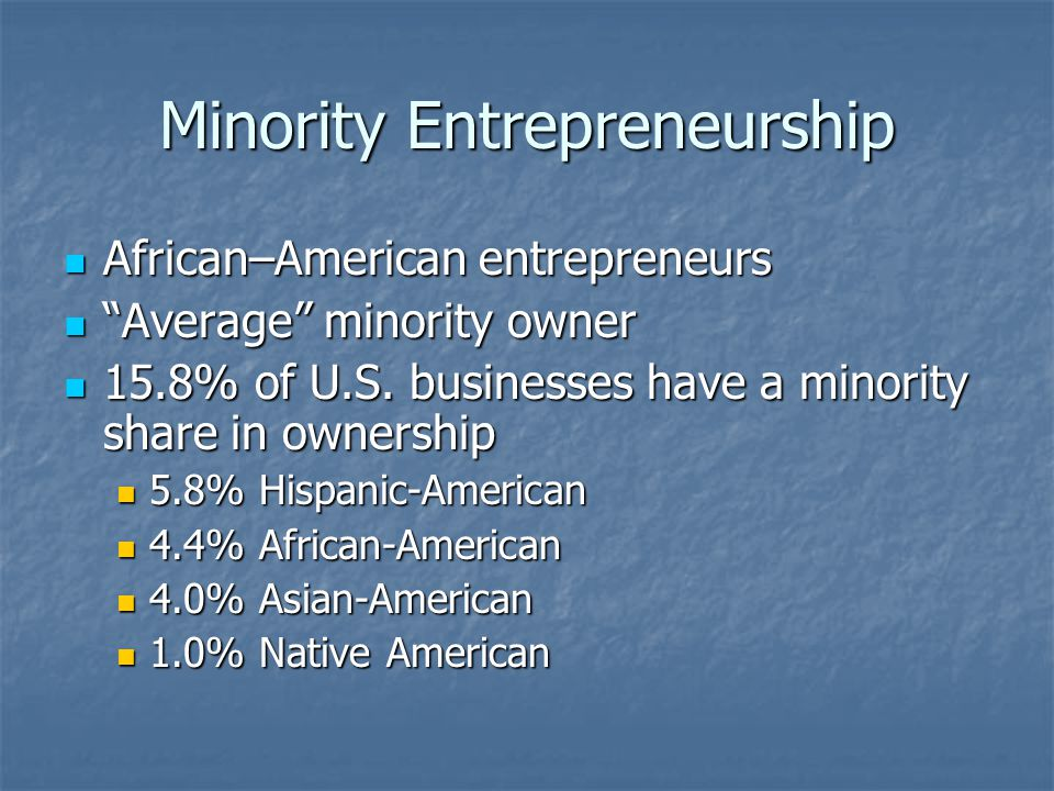 Minority Entrepreneurship
