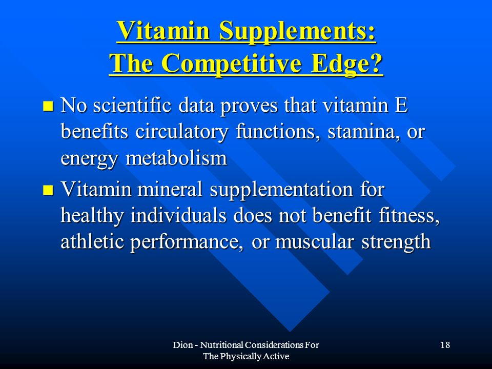 Vitamin Supplements: The Competitive Edge