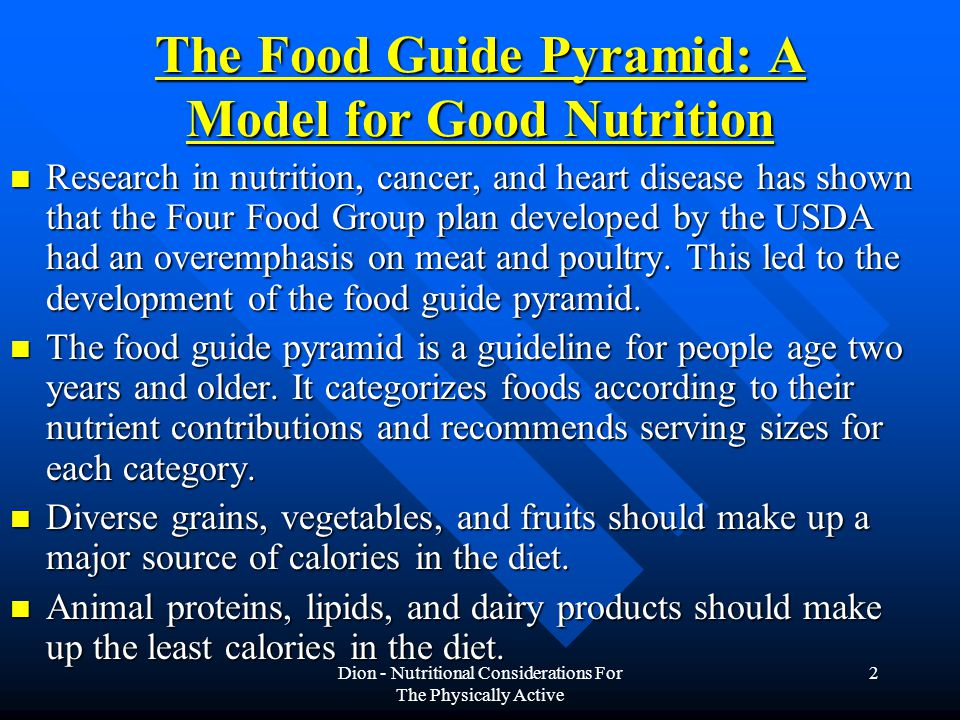 The Food Guide Pyramid: A Model for Good Nutrition