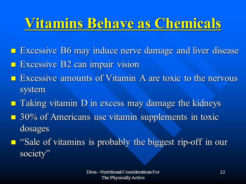 Vitamins Behave as Chemicals