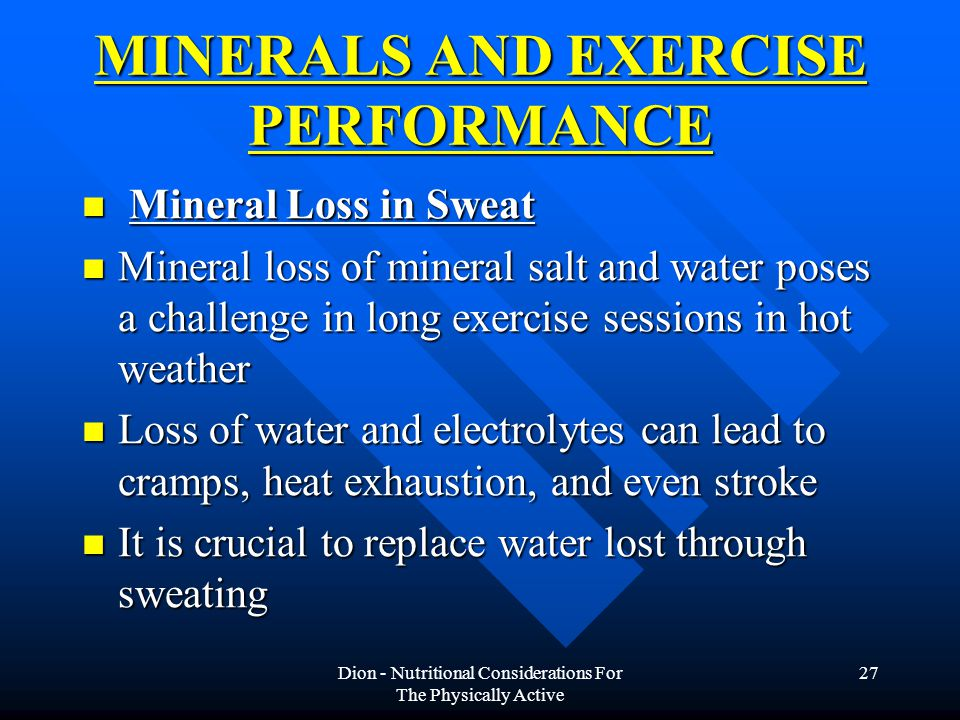 MINERALS AND EXERCISE PERFORMANCE