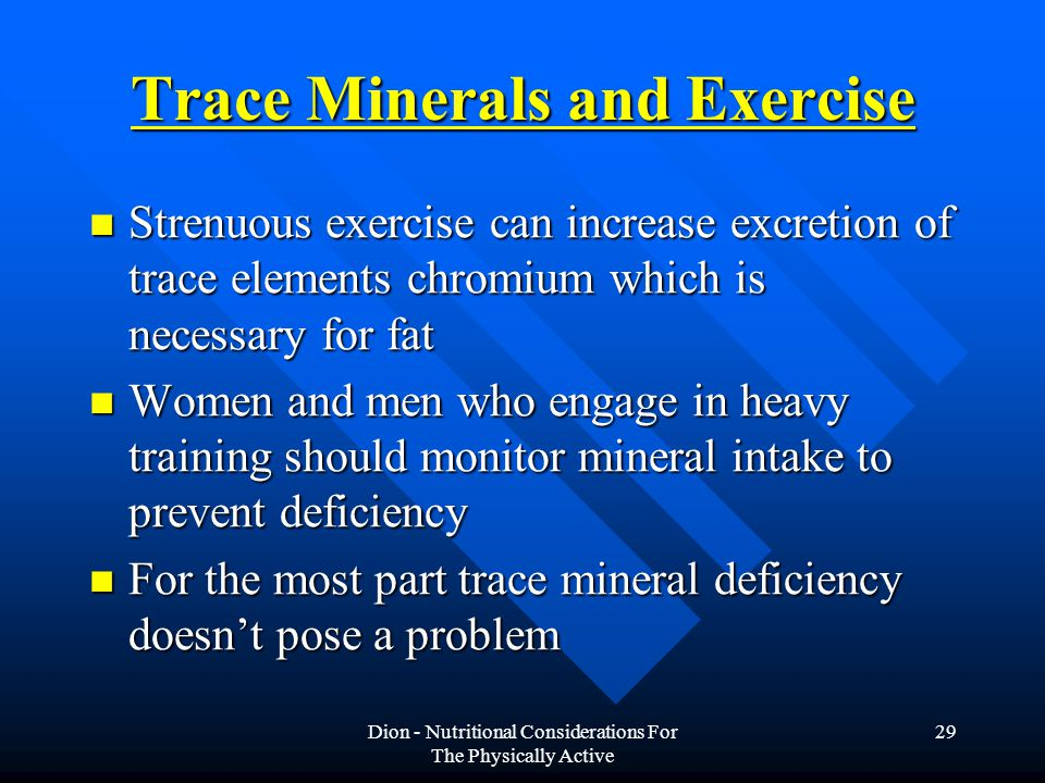 Trace Minerals and Exercise