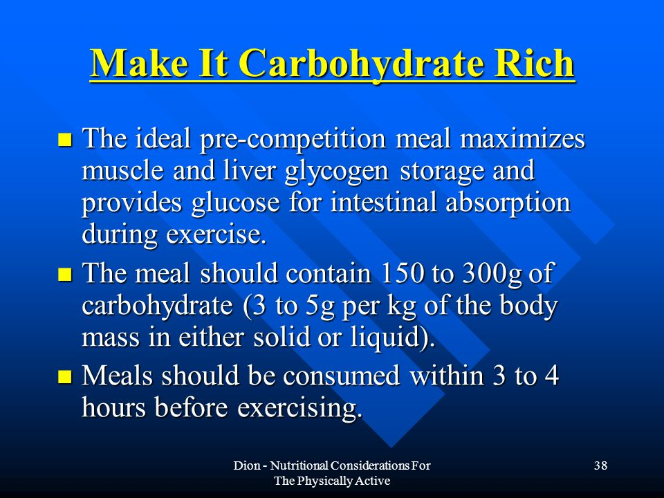 Make It Carbohydrate Rich