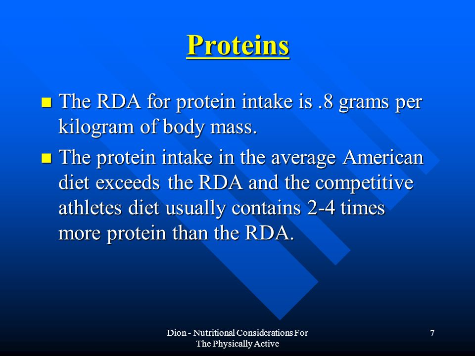 Dion - Nutritional Considerations For The Physically Active