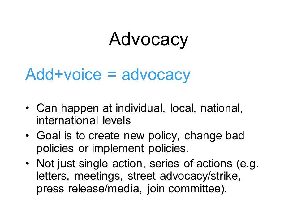 Advocacy Add+voice = advocacy