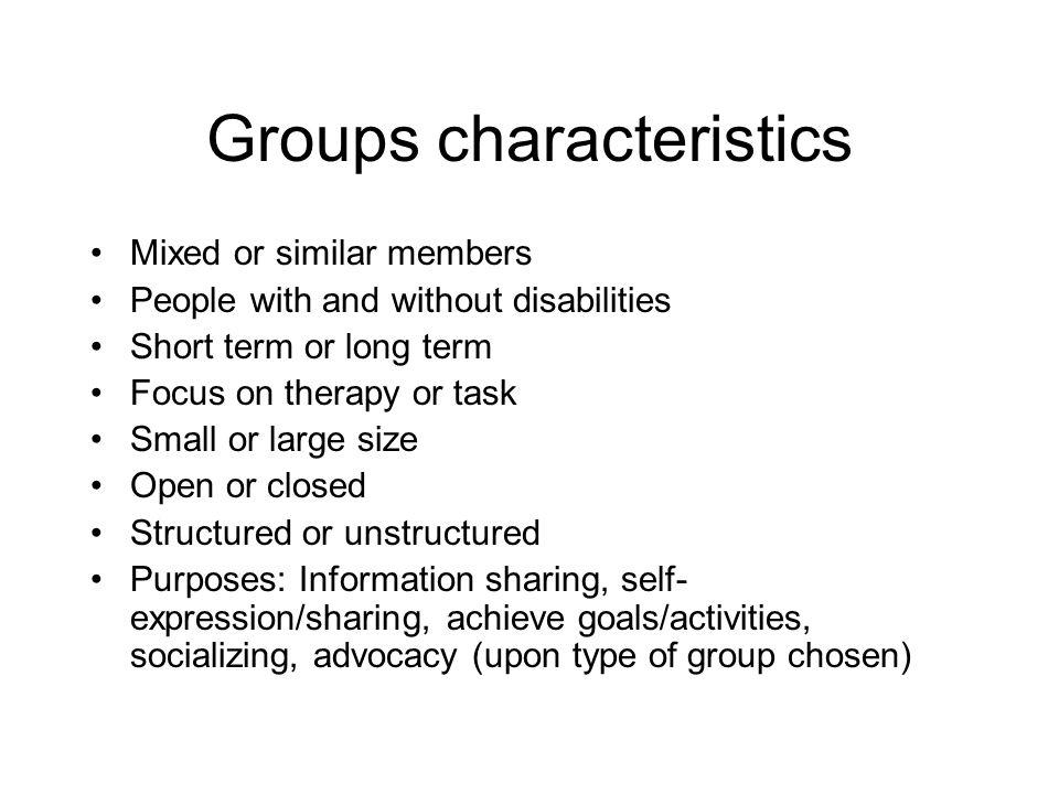 Groups characteristics