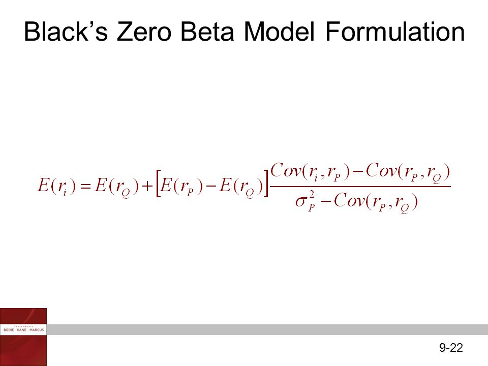 Black's Zero Beta Model Formulation