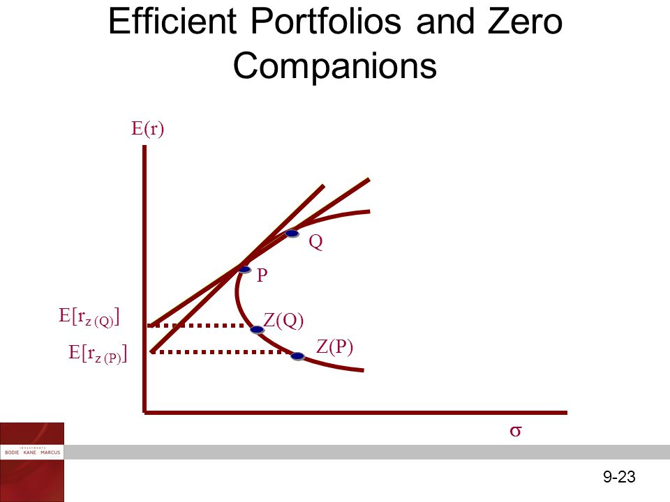 Efficient Portfolios and Zero Companions