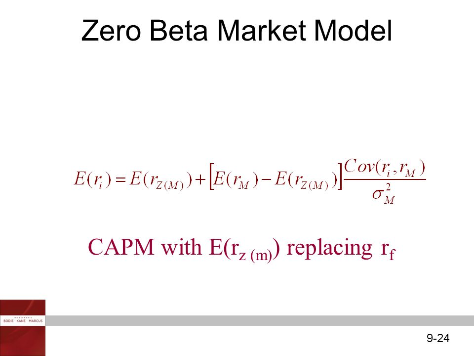 Zero Beta Market Model CAPM with E(rz (m)) replacing rf