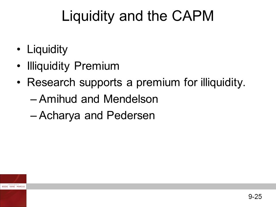 Liquidity and the CAPM Liquidity Illiquidity Premium
