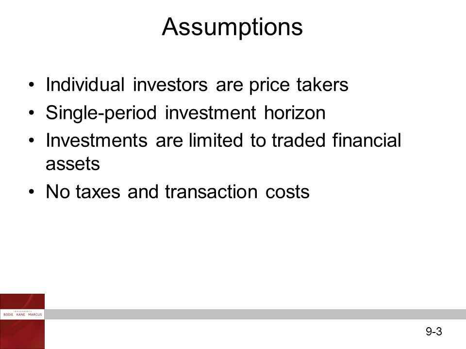 Assumptions Individual investors are price takers