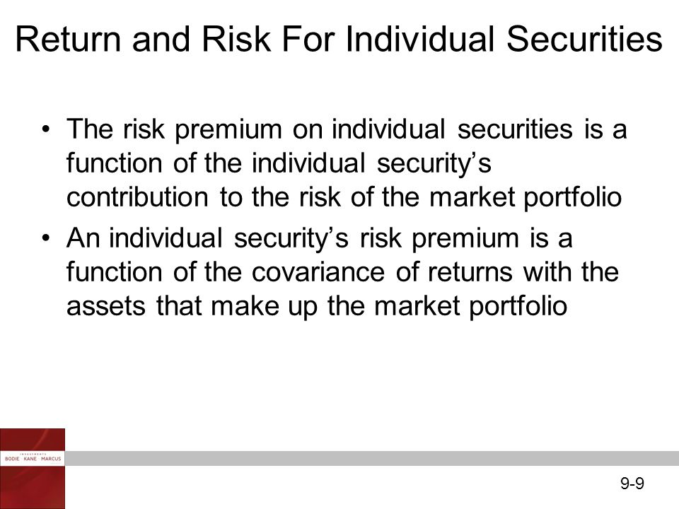 Return and Risk For Individual Securities