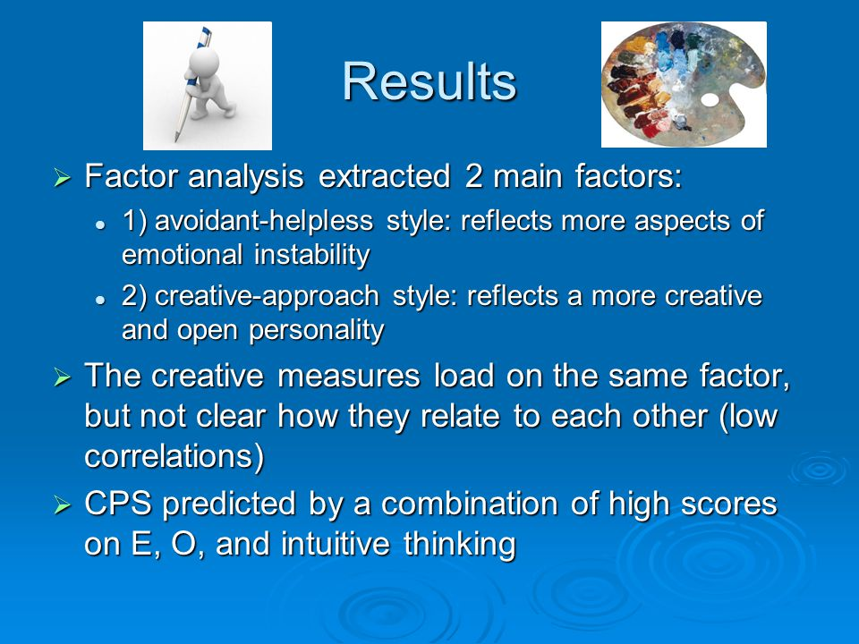Results Factor analysis extracted 2 main factors: