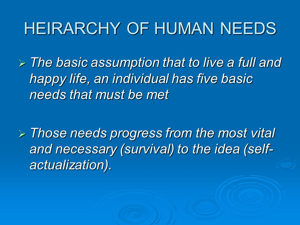 HEIRARCHY OF HUMAN NEEDS