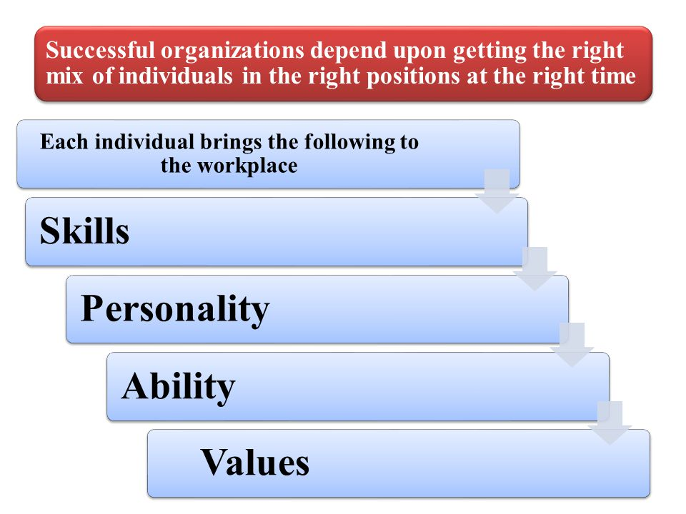 Each individual brings the following to the workplace